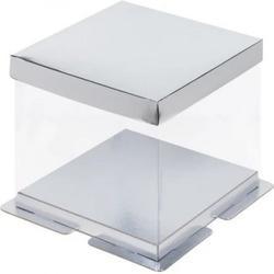 Коробка для торта Премиум 23,5х23,5х22 см. прозр. Силвер 1