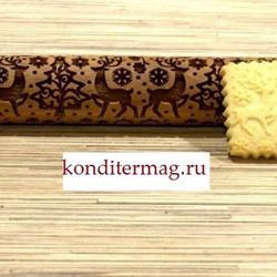 Скалка резная Зимний лес 35х4 см. бук 1
