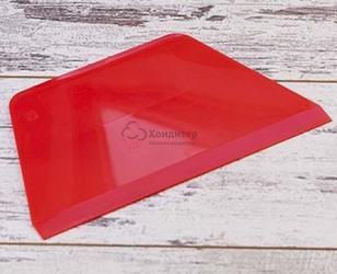 Шпатель кондитерский 22х13 см. Трапеция красный пластик Pavoni 1