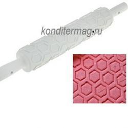 Скалка кондитерская Соты 36х5 см. пластик 1