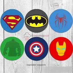 Вафельная картинка Супергерои значки 1