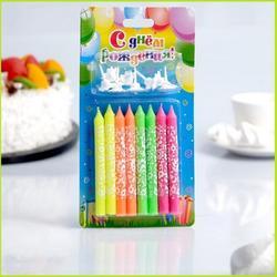 Свеча для торта Цветная расписная 8 шт. 1