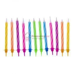 Свеча для торта С Днем Рождения цветные 12 шт. 1