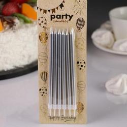 Свеча для торта Вечеринка серебро 13 см. 6 шт. 1