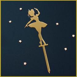 Топпер Балерина с короной золото 7х13 см. 1
