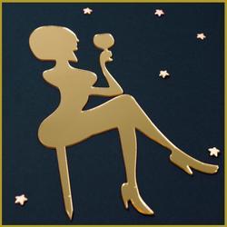 Топпер Девушка с бокалом 12х20 см. золото 1