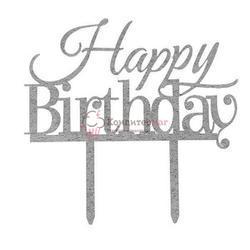 Топпер Happy Birthday 14х9 см. серебр. акрил 1