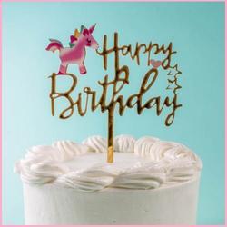 Топпер Happy Birthday мини-единорог золото 10х13 см. 1