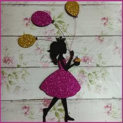 Топпер Принцесса с воздушными шарами 9х17 см. микс пластик 1