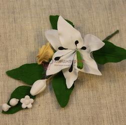 Украшение сахарное Букет Лилия белая с желтой розой 13 см. 1