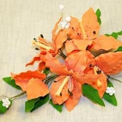 Украшение сахарное Букет Лилия оранжевая Анея 30 см., 1