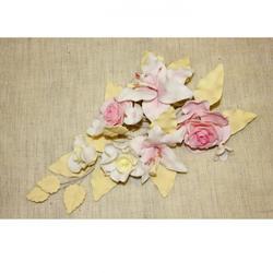 Украшение сахарное Букет Лилия с розами желтые листочки 1