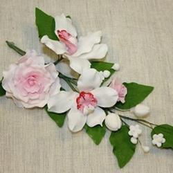 Украшение сахарное Букет Орхидея с розовой розой 30 см. 1