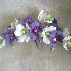 Украшение сахарное Ветка Орхидея свадебная бело-фиол. 40 см. 1