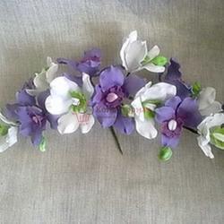 Украшение сахарное Букет Орхидея свадебная Бело-фиолетовая 35 см. 1