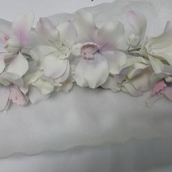 Украшение сахарное Ветка Орхидея свадебная бело-розовая 40 см. 2