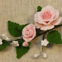Украшение сахарное Букет Роза розовая малая, 2 шт. 1