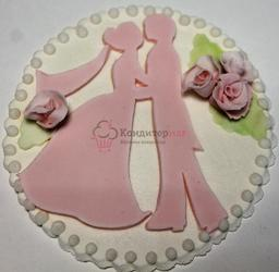 Украшение сахарное Открытка Свадебная 1