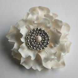 Украшение сахарное Цветок Пион королевский с жемчугом 11 см. 1