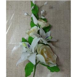Украшение сахарное Букет Лилия белая и Роза желтая 20 см. 2