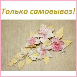 Украшение сахарное Лилия с розами желт/лист 1