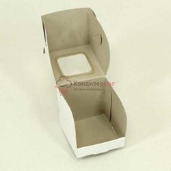 Упаковка для 1 капкейка Белый Пион с окошком пк10 1