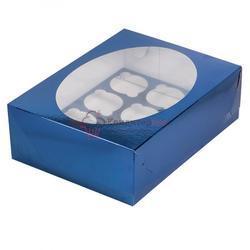 Упаковка для 12 капкейков Синяя с окошком 1