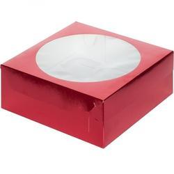 Упаковка для 9 капкейков 23,5х23,5х10 см. красная с окошком 1