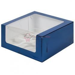 Упаковка для 9 капкейков Синяя с окошком 1