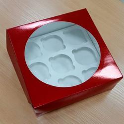 Упаковка для 9 капкейков 23,5х23,5х10 см. Черри с окошком 1