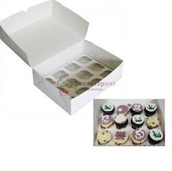 Упаковка для 12 капкейков 33х25х10 см. белая 1