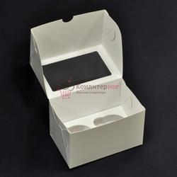 Упаковка для 2 капкейков 16х10х10 белая с окошком 1