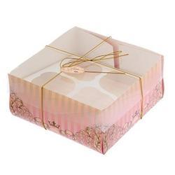 Упаковка для капкейков 4 ячейки 16х16х7,5 см. Для тебя прозр. крышка 1