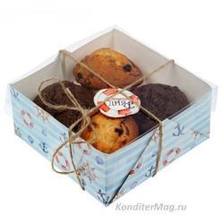 Упаковка для капкейков 4 ячейки 16х16х7,5 см. Сладкого дня 1
