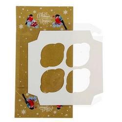Упаковка для капкейков 4 ячейки Снегири прозр. крышка 16х16х7,5 см, 2