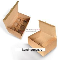 Упаковка для 6 капкейков Крафт со вставкой 1
