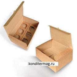 Коробка 6 ячеек 24х16х10 см. 2 вставки  Крафт 1