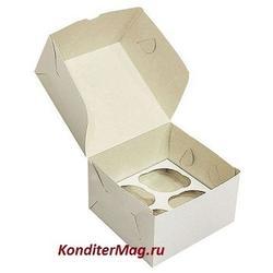 Упаковка для 4 капкейков 16х16х10 см. белая 1