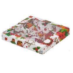 Упаковка для конфет 19х19х3 см. 16 ячеек Кристмас с окошком 1