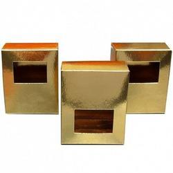 Упаковка для конфет и драже Золотая с окном 75х90х40 мм. 1