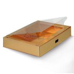 Упаковка для сладостей 14х9х3 см. Золото окно пвх 1