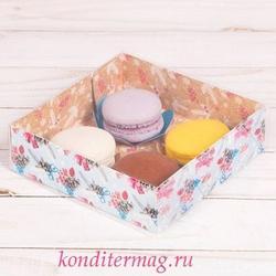 Коробка для макаронс 12х12х3,5 см. Новогодние праздники 1