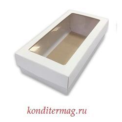 Упаковка для пирожных 21х10х5,5 см. Белая с окном, 2 части 1