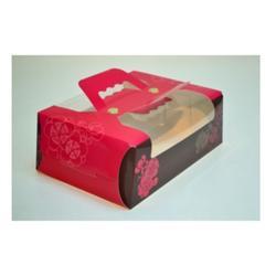 Упаковка для пирожных 21х14х7,5 см. Красная ручка окно 1