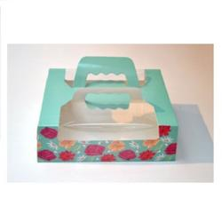 Упаковка для пирожных 21х14х7,5 см. Бирюза ручка окно 1
