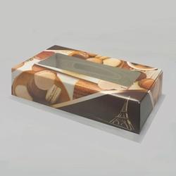 Упаковка для пирожных 21х10х5 см. Ванильный макарунс с окошком 1