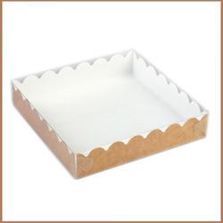 Коробка для пряников 15х15х3 см. крафт прозр/кр. 1