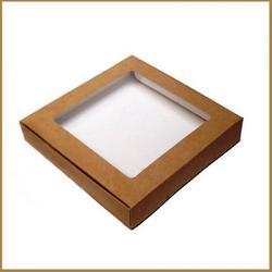 Коробка для пряников 16х16х3 см. крафт с окном 1