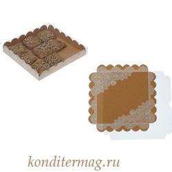 Коробка для пряников 21х21х3 см. Кружевная 1