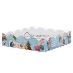 Упаковка для сладостей 20х20х3,5 см. Новогодняя прозрачная крышка 1